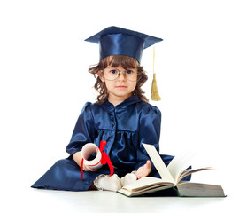 Little girl kid in academician clothes  with book