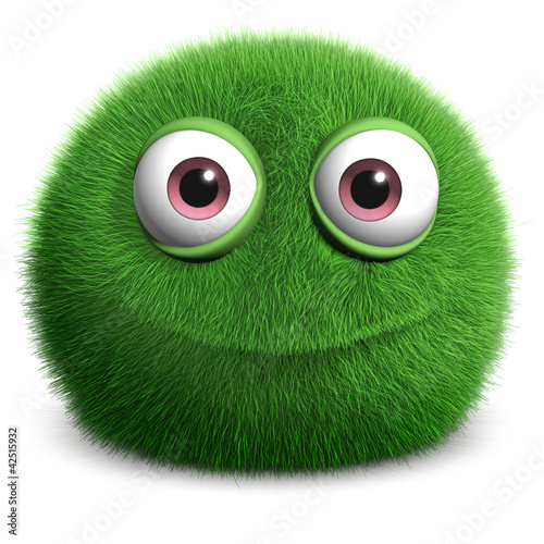 Deurstickers Sweet Monsters green furry monster
