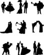 Silhouette of groom and a bride in a nine different poses