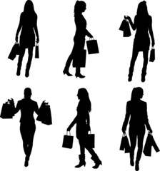 A collection of silhouettes of women shopping