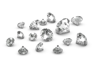 3d Diamonds Scattered