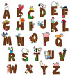Alphabet with farm characters. Vector isolated letters.