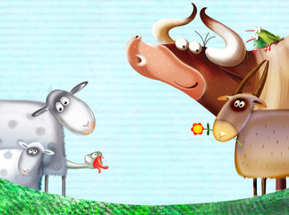 cartoon  farm animals group/farm background with animals