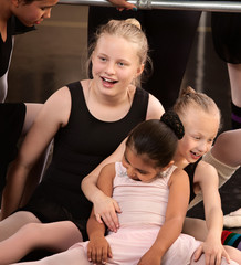 Girls Laughing at Ballet Class