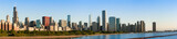 Panoramic view of Chicago Skyline at Sunrise