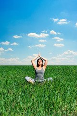 sunny day and woman meditating
