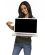 Pretty young woman holding computer