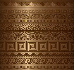 Seamless gold Greek elements