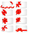 Big set of cards with red gift bows with ribbons