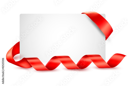 Card with red gift ribbons  Vector