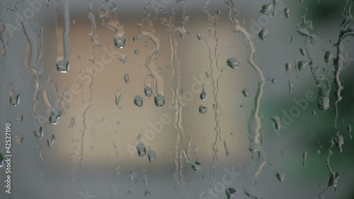 Rain Window Slow Motion