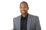 Happy confident black businessman