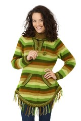 Smiling woman in autumn jumper