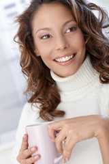 Closeup portrait of beautiful smiling woman