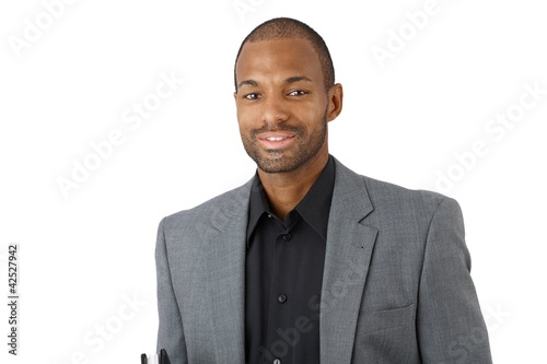 Happy confident black businessman