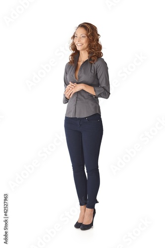 Young casual woman smiling