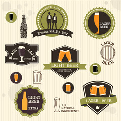 Beer badges and labels in vintage style design
