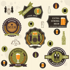 Beer badges and labels in retro style design