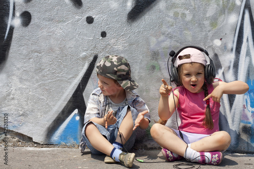 Children listen to music concept