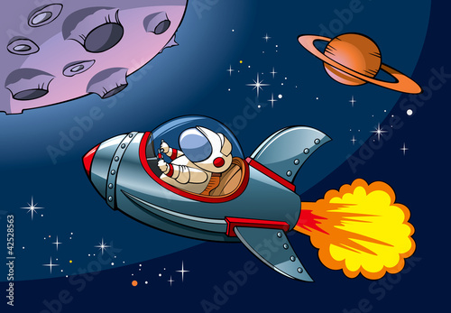 Spaceship with astronaut approaching planet, vector