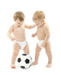 Two babies playing soccer ball over white background. Kids physi