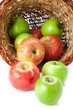 red and green apples in a basket
