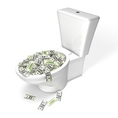 Wasting Money in the Toilet - dollars, isolated