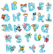 Alphabet with bubbles. Vector isolated letters.