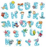 Fototapety Alphabet with bubbles. Vector isolated letters.