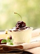 dessert  dairy with cherries and chocolate sauce