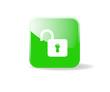 Bouton carré vert cadenas