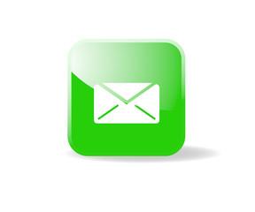 Bouton carré vert mail
