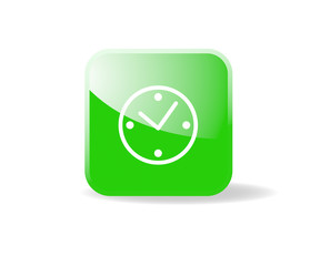Bouton carré vert horloge
