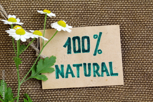 Organic label on the burlap natural   background