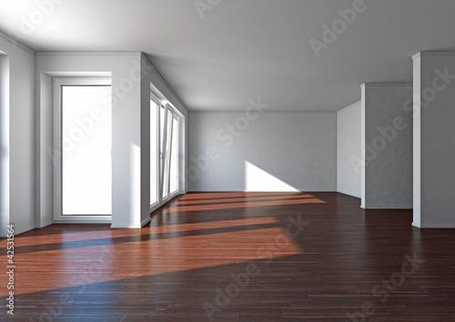 Raum mit dunklem Parkett