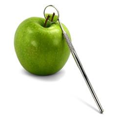 Dentalspiegel und Apfel
