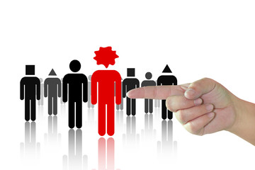 Hand choosing the red person from a group