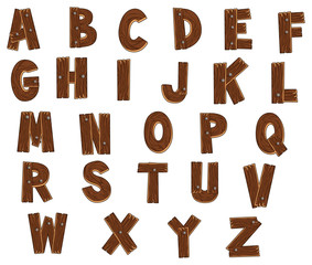 Alphabet with woods. Vector isolated letters.