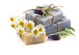 Fototapety soap bars with fresh lavender and chamomile flowers