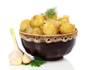 boiled potatoes in the plate