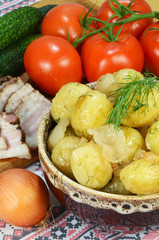 boiled potatoes and vegetables