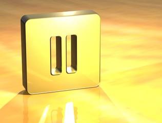 3D Pausa Gold Sign