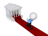 3d small person running to a courthouse.