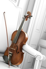 violin in a white environment decor 3d rendering