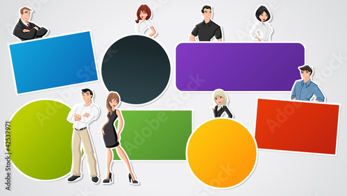 Colorful template for advertising with cartoon business people