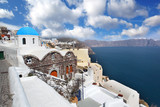 Santorini with church and sea-view in Greece