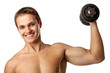 Muscular young man lifting a dumbbell over white background