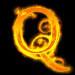 red fiery letters, Q