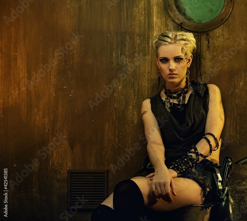 Blond girl in a bunker