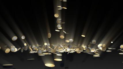 EUR coins falling, camera rotation
